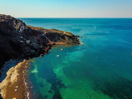Redbeach, Satnroini, Greece, Beach, Holidays, Water