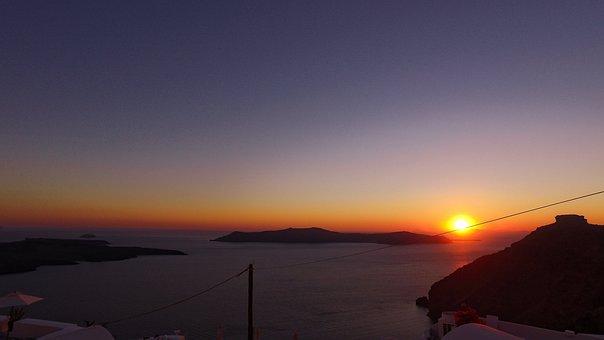 Santorini, Greece, Sunset, Tourism, Landscape, Nature