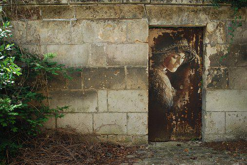 France, Soissons, Door, Wall, Art, Image