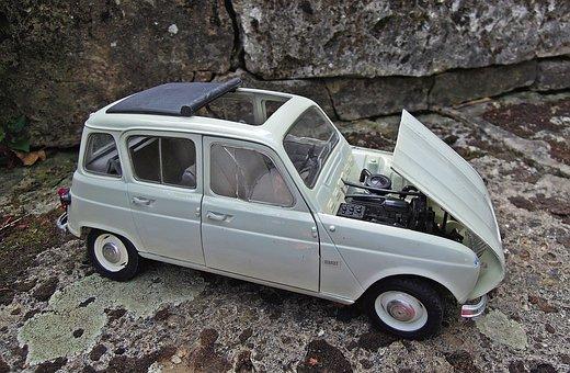 Renault, R4, Model, Miniature, Car, Retro
