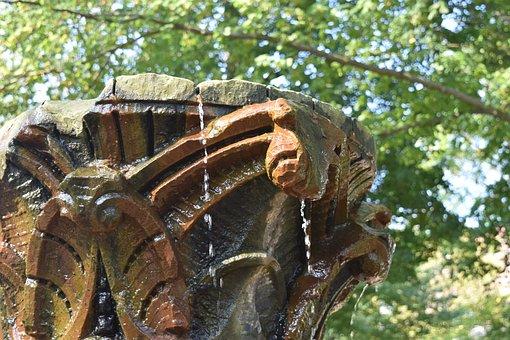 Fountain, Park, Water, Covington, City, Nature, Garden