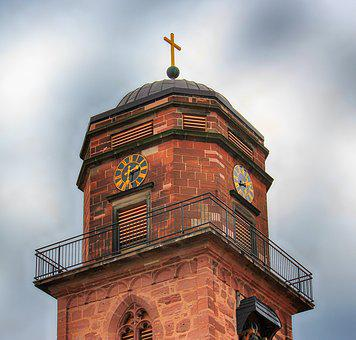 Tower, Bell Tower, Church, Clock, Digits, Dial, Pointer