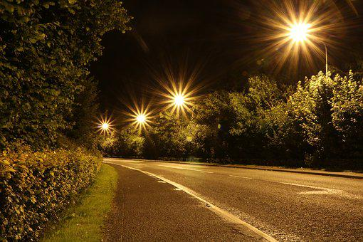 Lights, Night, Road, Long Exposure, At Night