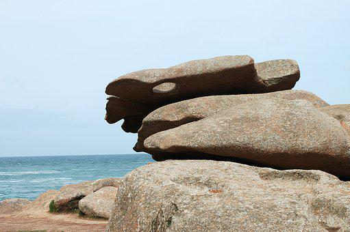 Brittany, Coast, France, Rock, Sculpture, Sea