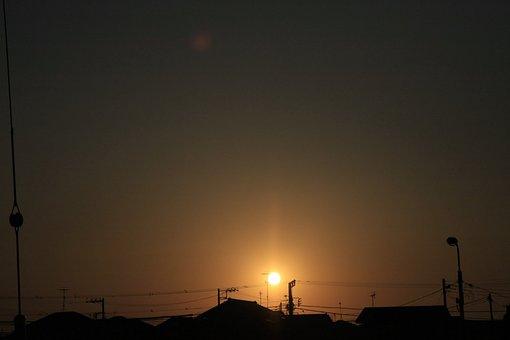 Sunset, Nightfall, Sun, Residential, Sky