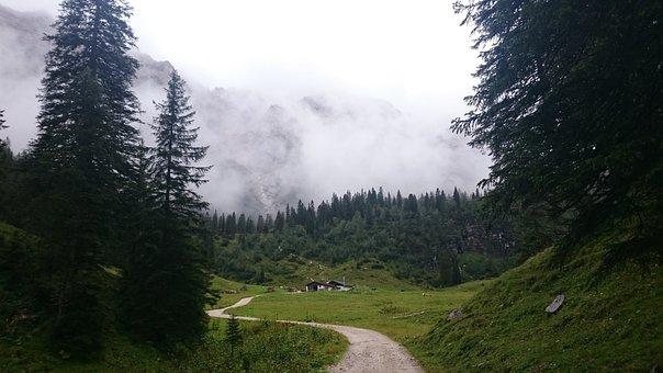 Alpine, Alm, Away, Fog, Mountains, Schachen, Landscape