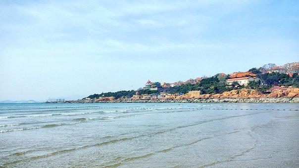 Qingdao, The Sea, Blue Sky, Red House, China, Marine