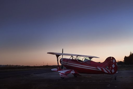 Airplane, Plane, Sunset, Airport, City, Red