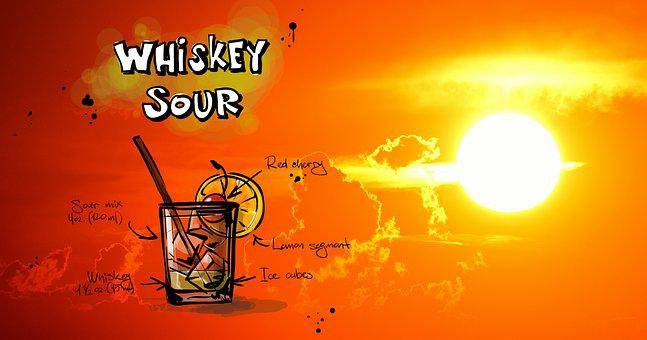 Whisky Sour, Cocktail, Drink, Sunset, Alcohol, Recipe