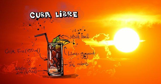 Cuba Libre, Cocktail, Drink, Sunset, Alcohol, Recipe