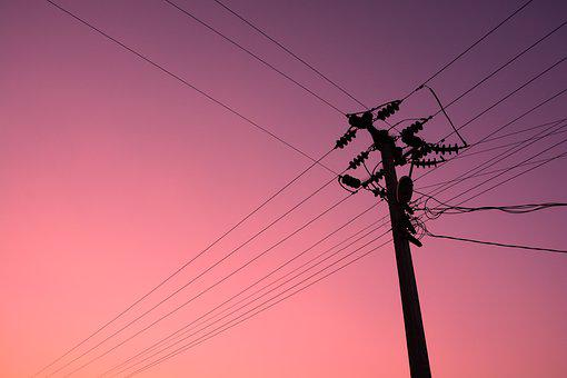 Electric Pole, The Sky At Sunset, Turkey, Electric