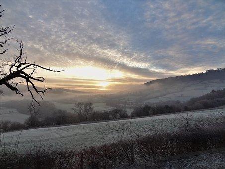 Frost, Sunrise, Sky, Field