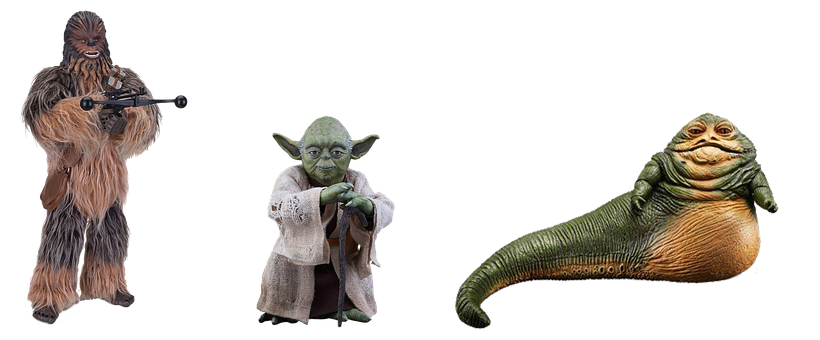 Figures, Star Wars, Isolated, Figure, Chewbacca, Yoda