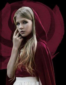 Girl, Red, Cloak, Rose, Flower, Fantasy, Blonde, Dark