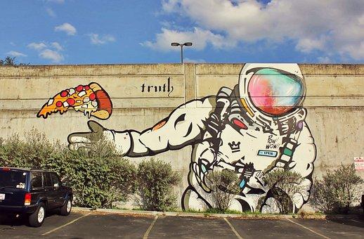 Street Art, Mural, Graffiti, Astronaut, Wall