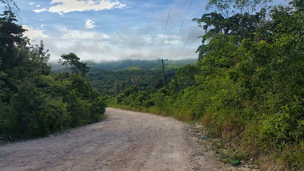 Road, Gravel Road, Belize, Clouds, Mountain's