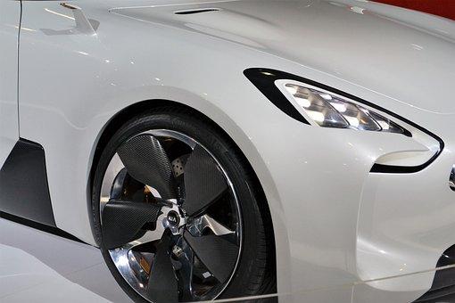 Kia Car, White Car, Wheels, Rims, Head Lamp, Led