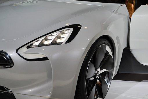 Kia Sports Car, White Headlamps, Wheel, Headlight