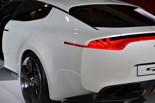 Kia Sports Car, Rear View, Exterior, White Sports Car