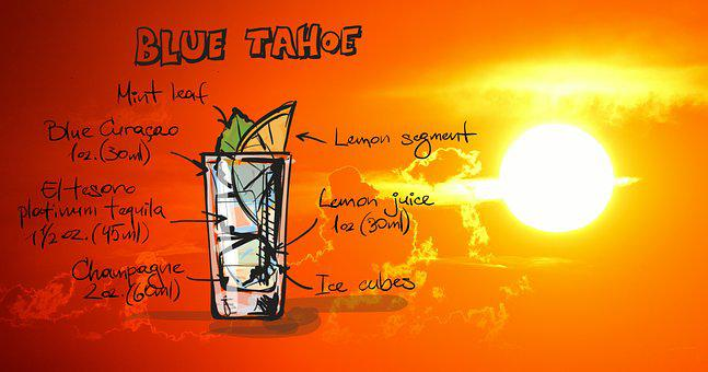 Tahoe Blue, Cocktail, Drink, Sunset, Alcohol, Recipe