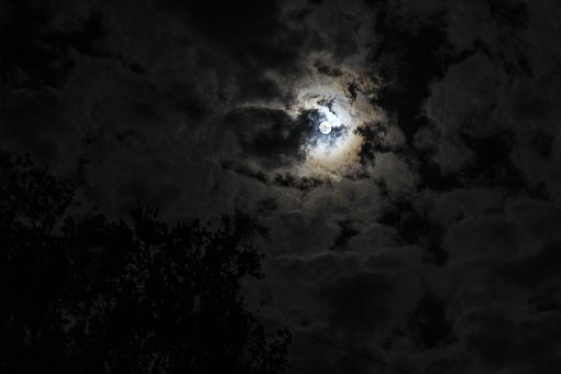 Moon, Night, Sky, Moonlight, Outdoor, Natural, Dark
