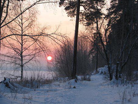 Evening, Winter, Sunset, Russia, Landscape, Snow