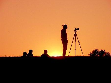 Sunset, Evening, Silhouettes, Photographer, Sun