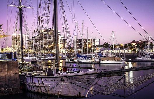Defender, Townsville Port, Ross River, Sunset