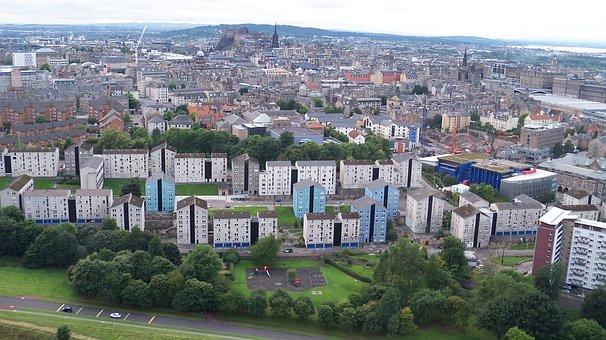 Edinburgh, Landscape, Scotland, City, Buildings, View