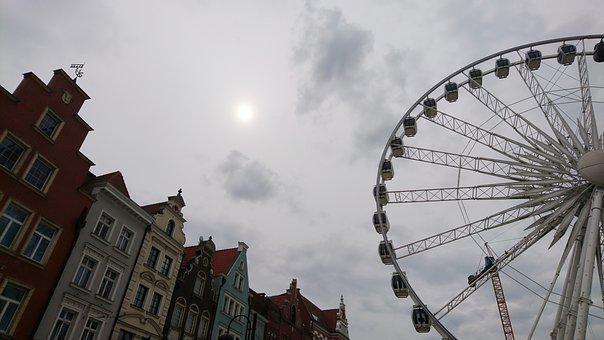 Gdanks, Poland, Wheel, Old, Architecture, Town, City
