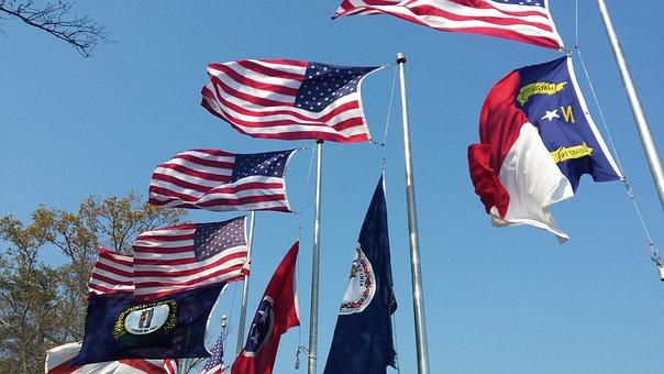 Flags, Wind, Symbol, Banner, Patriotism, America