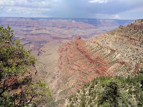 Usa, Arizona, Grand Canyon, Clouds, Places Of Interest