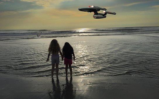 Fantasy, Spaceship, Children, Beach, Sighting