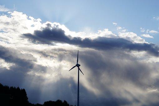 Clouds, Wind Turbine, Sky, Blue, Renewable Energy