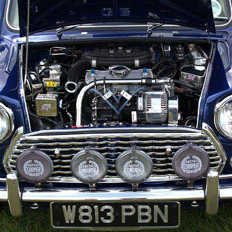 Mini Cooper, Car, English, Icon, Engine, Spotlights