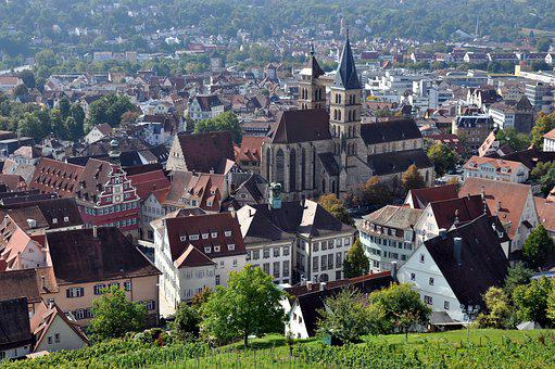 Esslingen, Old Town, View From The Castle, City Church