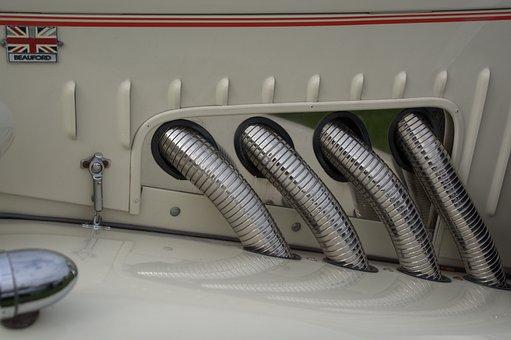 Baufort, Exhaust, Car, Vintage, Pipe, Chrome, Classic