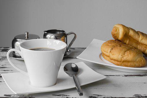 Breakfast, Coffee, Cup, Coffee Cup, Eat, Croissant