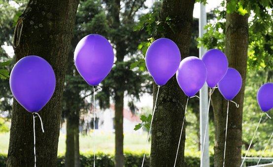 Ballons, Festival, Purple, Trees, Balloon, Colorful