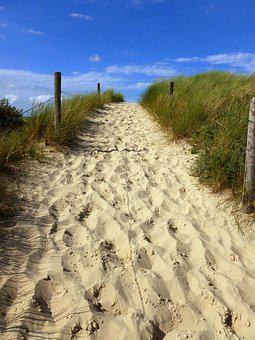 Away, Uphill, Sky, Sand, Dunes, Nature, Blue, Summer