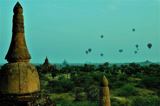 Burma, Bagan, Hot Air Balloon