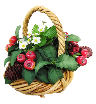 Basket, Fruit, Flowers