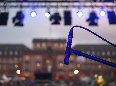 Microphone, Stage, Live, Lamps, Lights, Concert