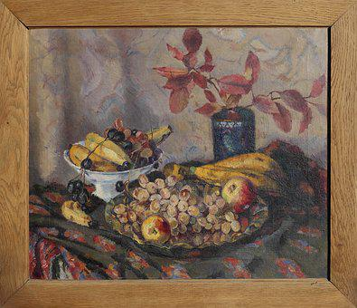 Still Life, Fruit Basket, Painting, Frame