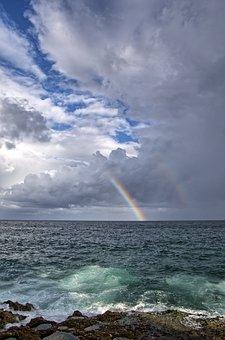Rainbow, Sea, Malecon, Cuba, Havana, Clouds