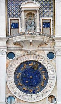 Zodiac Sign, Time, Clock, Astrology, Venice, Digits