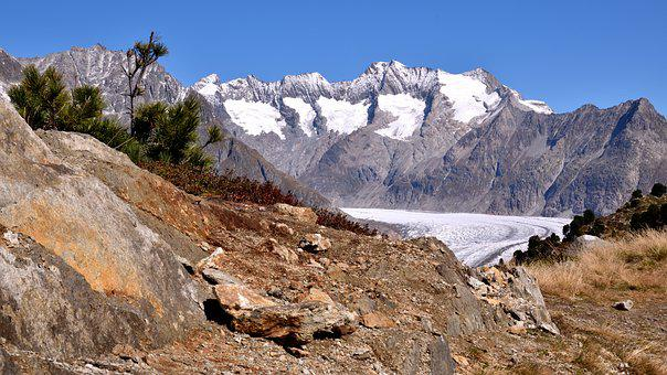 Aletsch Glacier, Mountains, Alpine Panorama, Nature