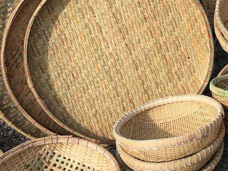 Basket, Curve, Develop, Ellip, Round, Bamboo, Natural