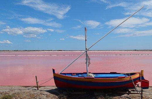 Saline, Salt, Boat, Landscape, France, Water, Gruissan