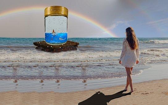 Fantasy, Beach, Woman, Raft, Glass, Rainbow, Frog